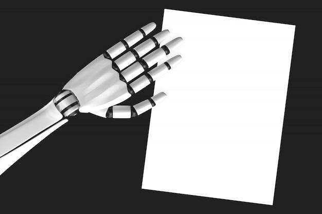 Roboterhand und papier