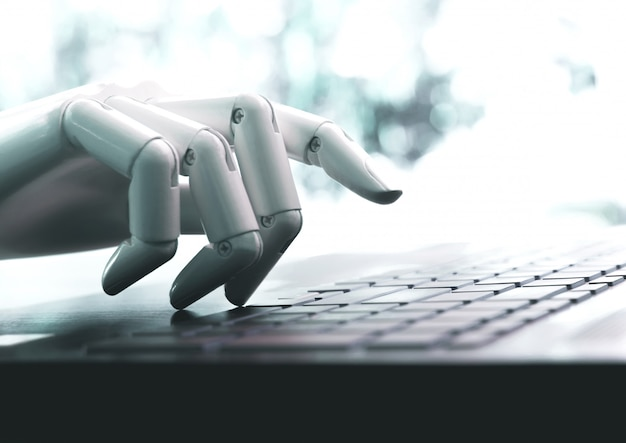 Roboterkonzept oder roboterhandchatbot, der computertastatur drückt, kommen herein