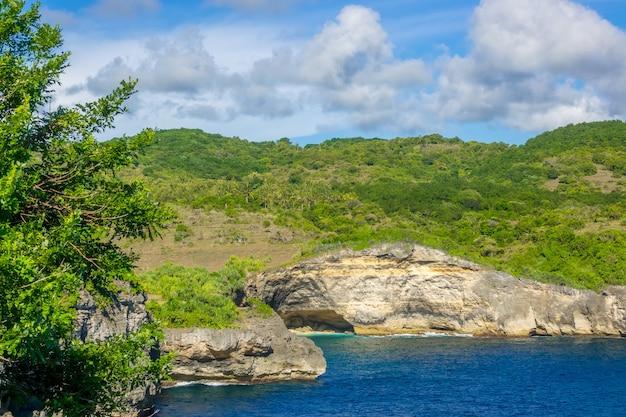 Rocky tropische küste am sonnigen tag. wolken am blauen himmel. palmen und grüne vegetation