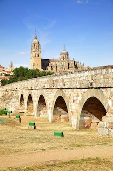 Römische brücke und kathedralen von salamanca, spanien. gefiltertes bild im retro-stil