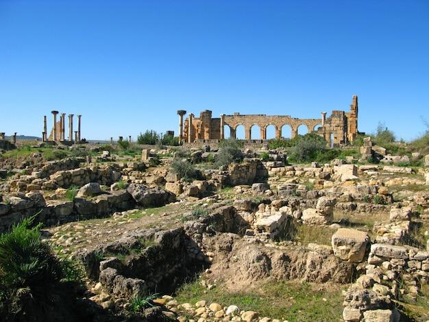 Römische ruinen in volubilis, marokko