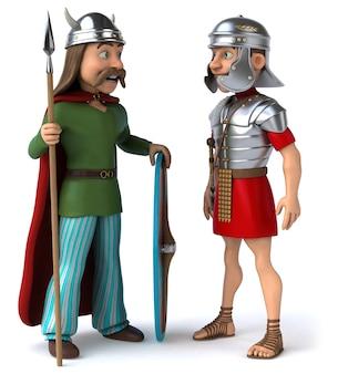 Römische und gallische 3d-illustration