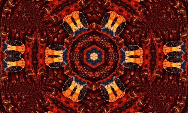 Römische ziffern kaleidoskop abstraktes nahtloses muster mit runden kaleidoskopischen leuchtenden elementen.