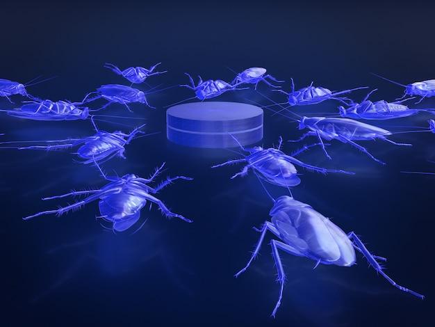 Röntgenmodell von toten kakerlaken