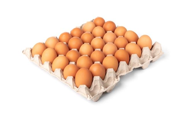 Rohe eier in der schale lokalisiert auf weißem hintergrund.