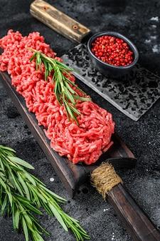 Rohe hackfleisch hackfleisch draufsicht