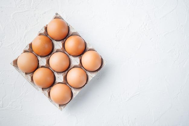 Rohe hühnereier im eierkartonset, auf weißem hintergrund, draufsicht flach legen, mit platz für textkopyspace