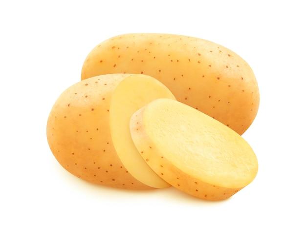 Rohe kartoffel lokalisiert auf weißem hintergrund mit beschneidungspfad