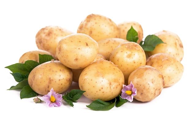 Rohe kartoffeln mit blumen und blättern isoliert auf weißer oberfläche