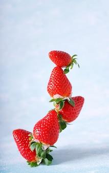 Rohe rote organische erdbeeren in einem bündel auf blauem hintergrund.