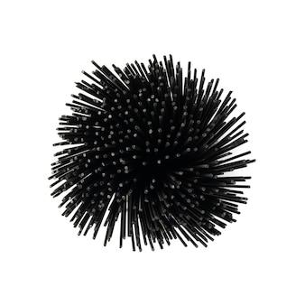 Rohe schwarze spaghetti-nudelbündel isolierte draufsicht. trockene schwarze nudeln oder nudeln.