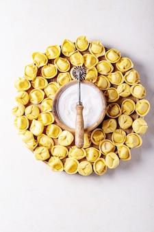 Rohe traditionelle italienische ravioli