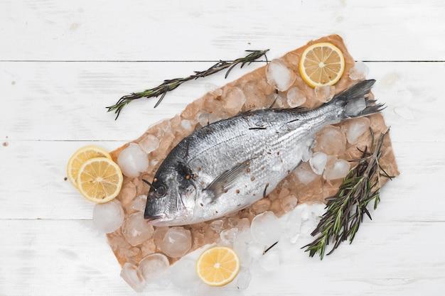 Roher doradafisch oder goldbrasse auf eis mit zitronenscheiben und rosmarin über weißem hölzernem hintergrund, flache lage, draufsicht