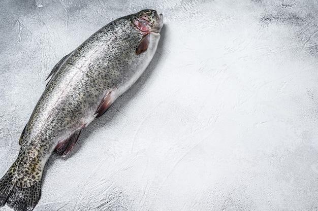 Roher regenbogenforellenfisch auf einem tisch