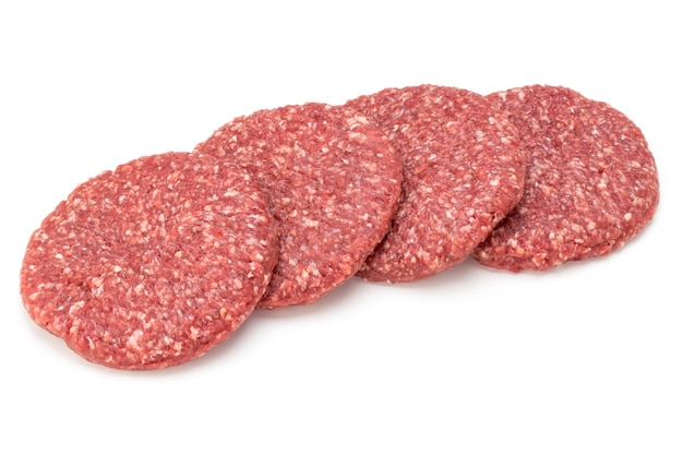 Rohes frisches hamburgerfleisch isoliert