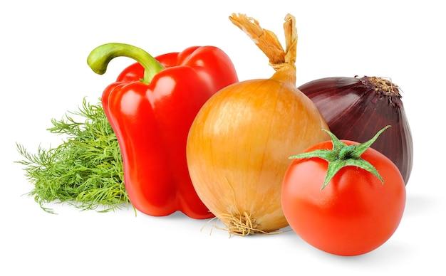 Rohes gemüse (tomate, zwiebeln, rote paprika, dill) lokalisiert auf weißem hintergrund