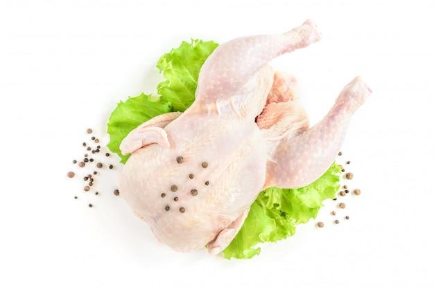 Rohes huhn und grüner salat lokalisiert auf weißem hintergrund.