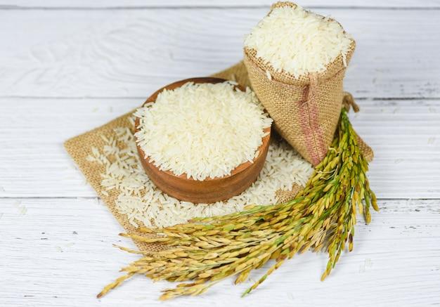 Rohes jasminreiskorn mit dem ohr von landwirtschaftlichen erzeugnissen des reisfeldes für lebensmittel im asiatisch-thailändischen reisweiß auf schüssel und dem sack