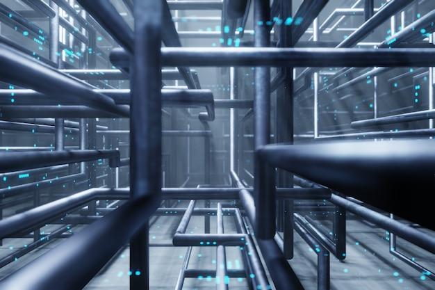 Rohr der stromleitung serverraum rechenzentrum hintergrund 3d-rendering