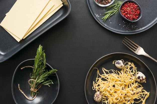 Rohstoffe für italienische lasagne