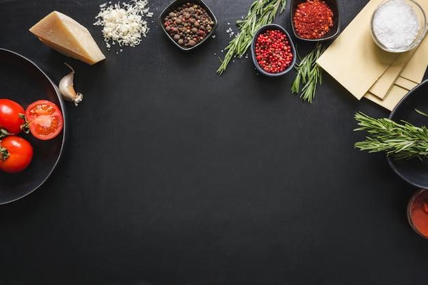 Rohstoffe für lasagne
