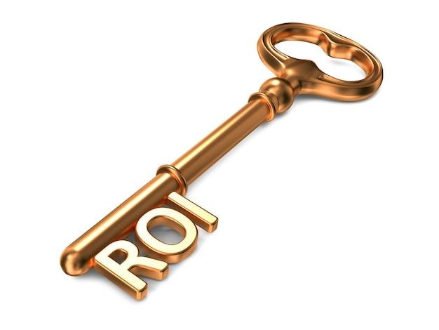 Roi - goldener schlüssel. 3d-rendering. unternehmenskonzept.