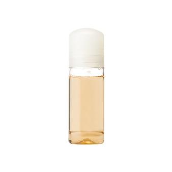 Roll-on deodorant auf weißer wand. flasche mit antitranspiran