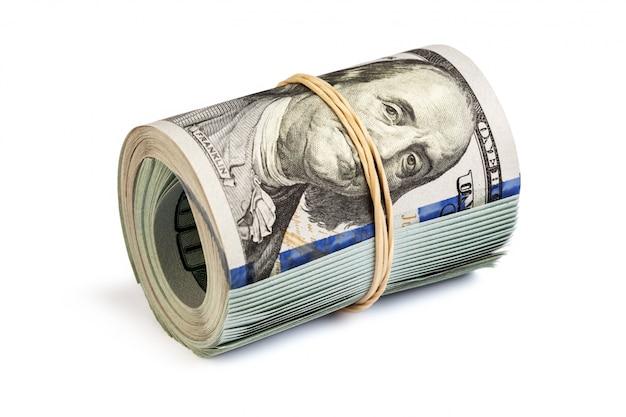 Rolle von hundert dollarnoten isoliert
