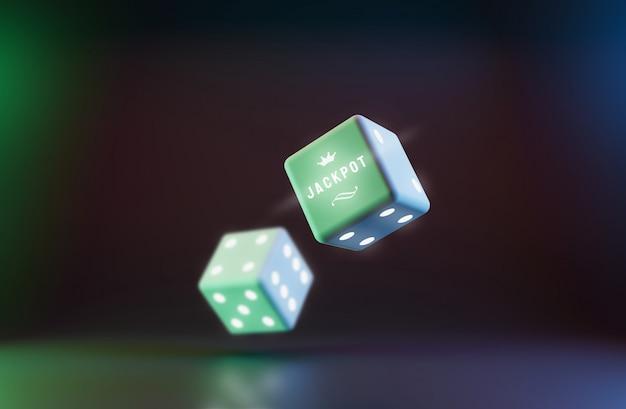 Rollende würfel des kasinos auf dem spielen mit jackpot und glücklichem konzept.