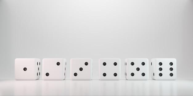 Rollende würfel des kasinos auf weißem hintergrund mit punkt mit sechs zahlen.