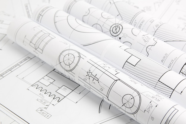 Rollenpapier-konstruktionszeichnungen von mechanismen und maschinen