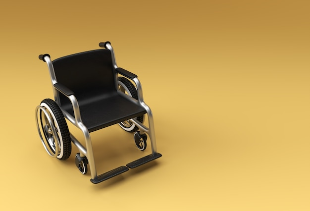 Rollstuhl isoliert. 3d-rendering-illustration.