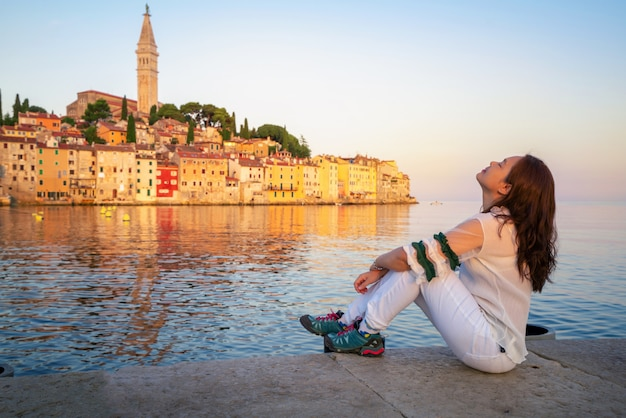 Romantische altstadt von rovinj in kroatien, europa.