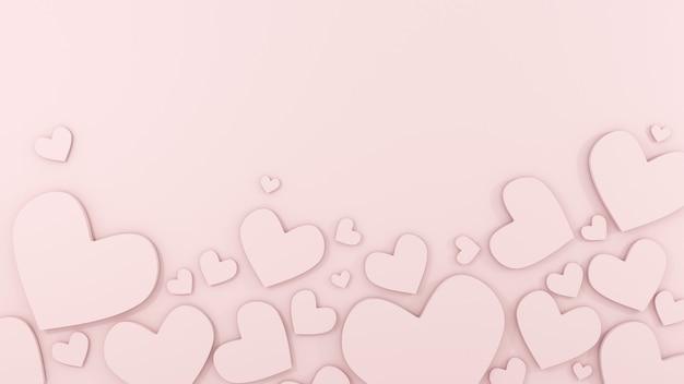 Romantische grußkarte mit rosa herzen und podium für valentinstag d rendern