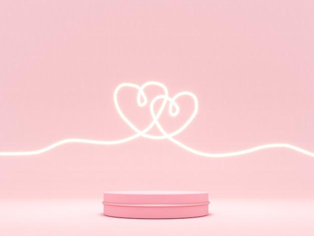 Romantische grußkarte mit rosa herzen und podium für valentinstag
