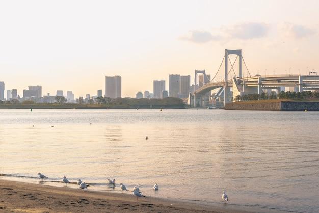 Romantische stadtansicht, regenbogenbrücke