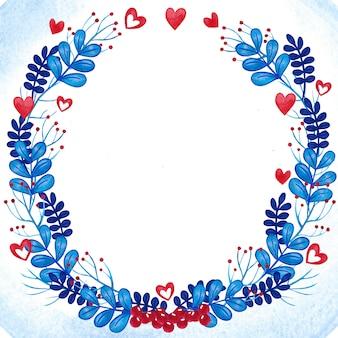 Romantischer aquarellblumenkranzrahmen blau und rot