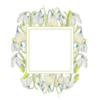 Romantischer frühlingsrahmen mit schneeglöckchen am äußeren rand auf einem weißen, isolierten hintergrund. aquarellillustration.