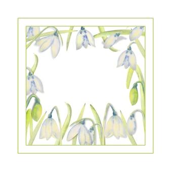 Romantischer frühlingsrahmen mit schneeglöckchen am inneren rand auf einem weißen, isolierten hintergrund. aquarellillustration.