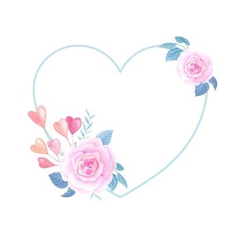Romantischer rahmen des aquarells. herz mit rosa rose auf weißem hintergrund.