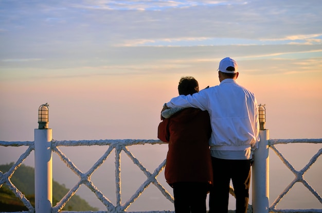 Romantisches älteres paar