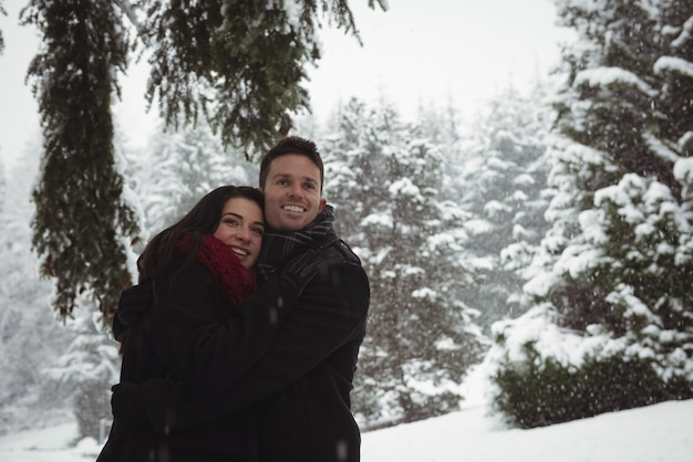 Romantisches paar, das im winter im wald umarmt