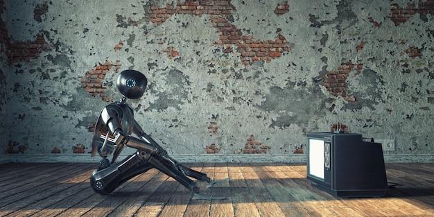 Roobt und ein alter fernseher in einer leeren verlassenen wohnung