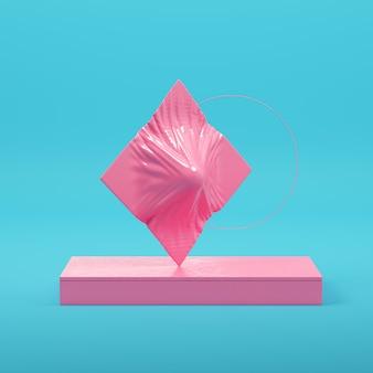 Rosa abstrakte geometrische formen auf hellblauem hintergrund in pastellfarben. minimalismus-konzept. 3d-rendering