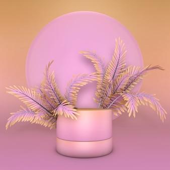 Rosa abstrakter geometrischer sockel des farbverlaufs 3d. minimales design des summer vibes podiums mit tropischen palmen.