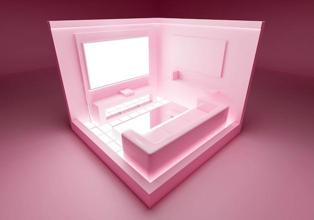 Rosa abstrakter pastellhintergrund im wohnzimmerinnenraum
