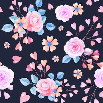 Rosa aquarellherzen, rosen auf schwarzem hintergrund. nahtloses muster mit abstrakten blumen.