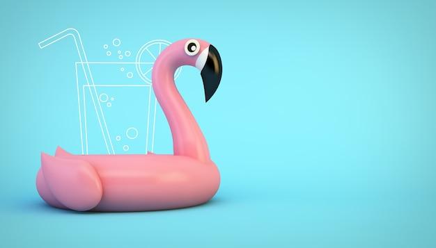 Rosa aufblasbarer flamingo mit getränk auf 3d-darstellung des blauen hintergrunds