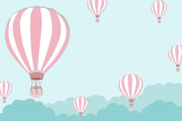 Rosa ballon auf hellem hintergrund des blauen himmels - ballongrafik für internationales ballonfestival