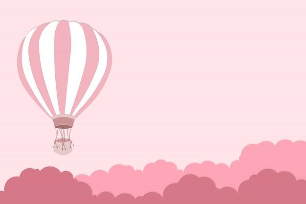 Rosa ballon auf rosa hintergrund - ballongrafik für internationales ballonfestival